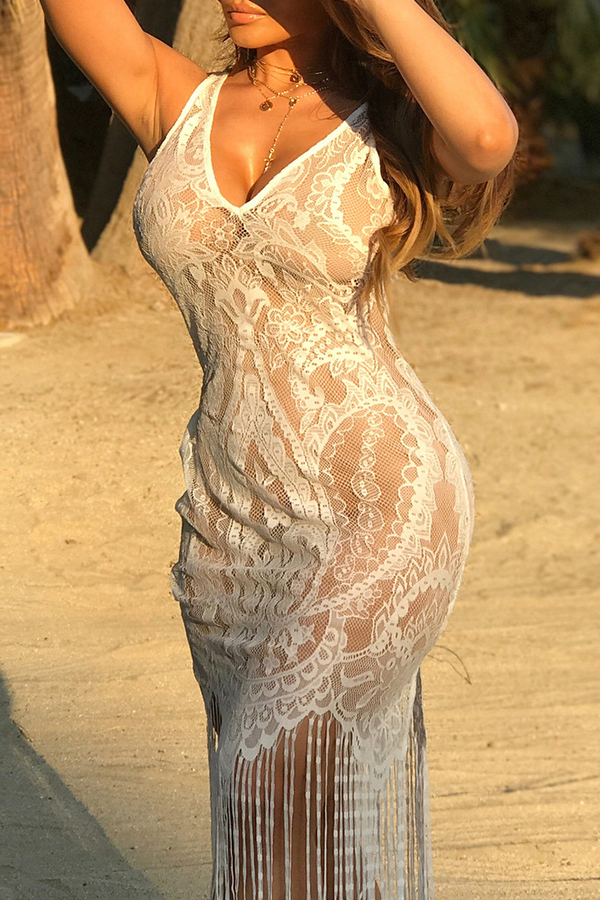 Lovely White Tassel Design Lace Beach Dress
