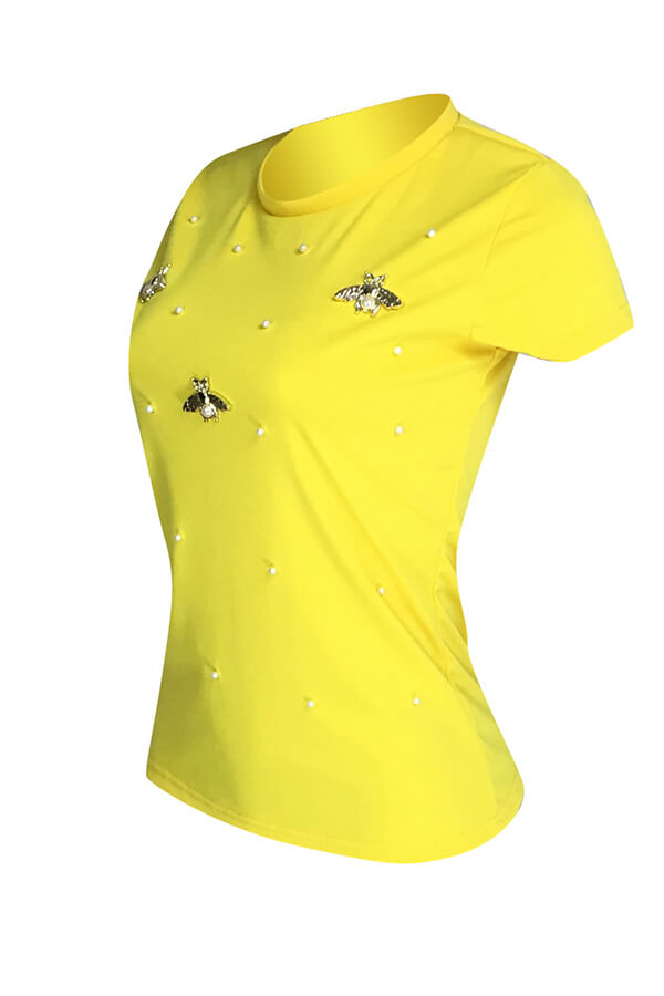 Lovely Leisure Pearls Decoration Yellow T-shirt