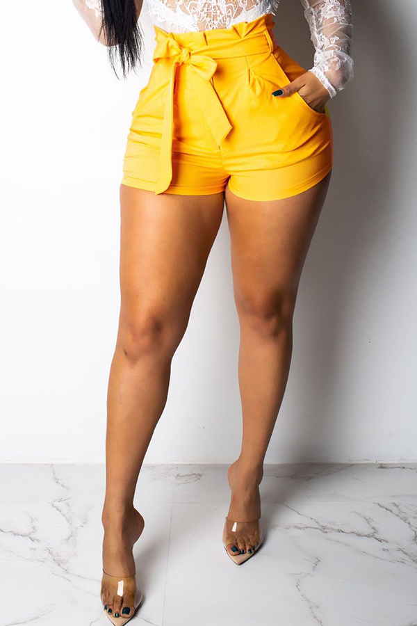 Lovely Casual Lace-up Yellow Shorts