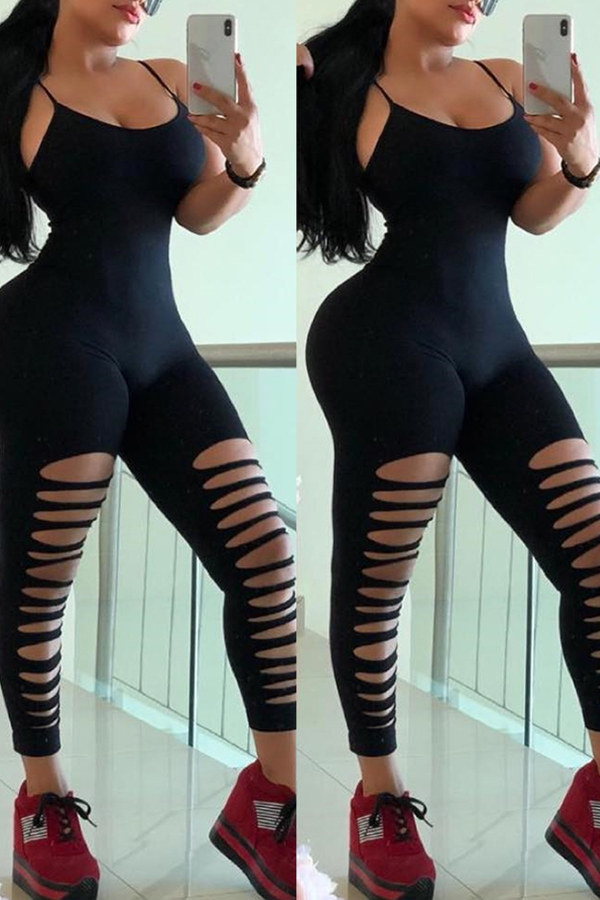 Lovely Casual Hollow-out Black One-piece Jumpsuit(With Elastic)