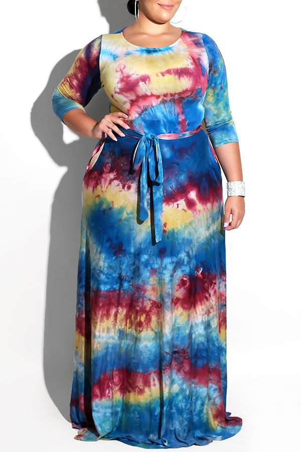 Lovely Stylish Tie-dye Printed Floor Length Dress(With Elastic)
