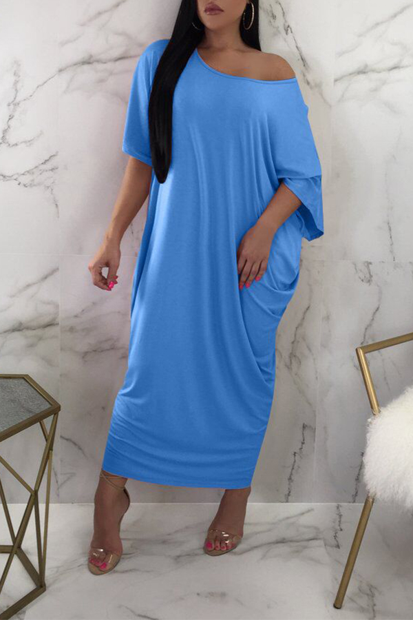 Lovely One Shoulder Light Blue Ankle Length Dress(With Elastic)