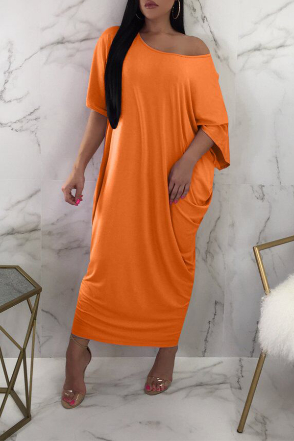 Lovely One Shoulder Orange Ankle Length Dress(With Elastic)