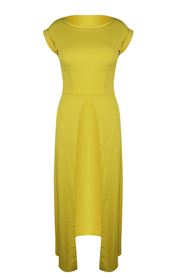 Linda Blusa Alta Amarela Elegante