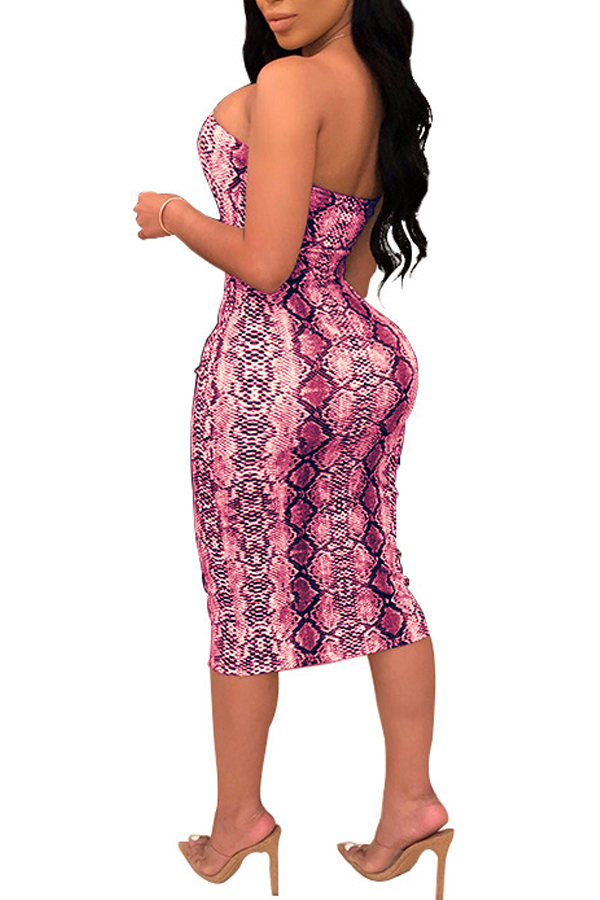 Lovely Sexy Backless Leopard Printed Pink Knee Length Dress(With Elastic)
