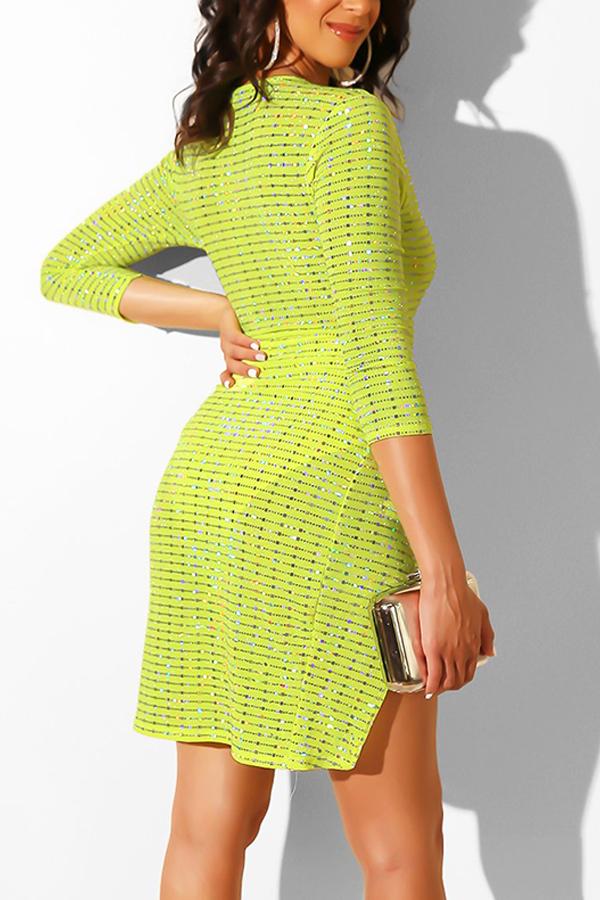 Lovely Sexy Deep V Neck Side Split Light Green Mini Dress(With Elastic)