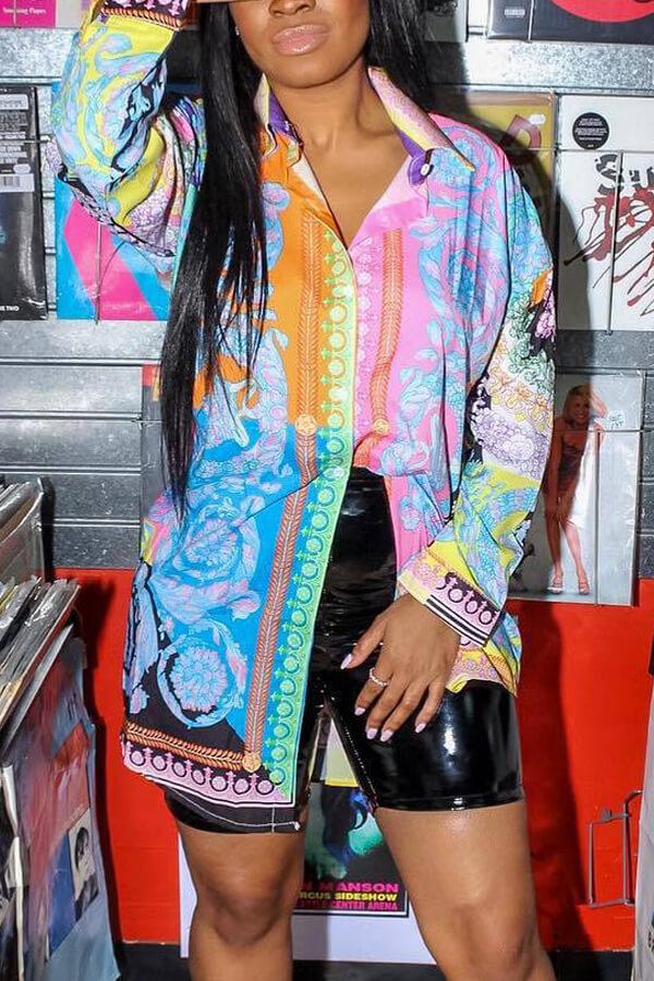 Lovely Work Turndown Collar Printed Mini Dress