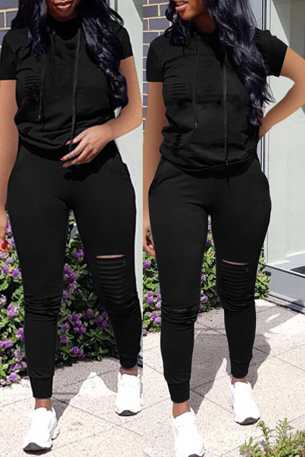 Lovely Casual Broken Holes Black Two-piece Pants Set