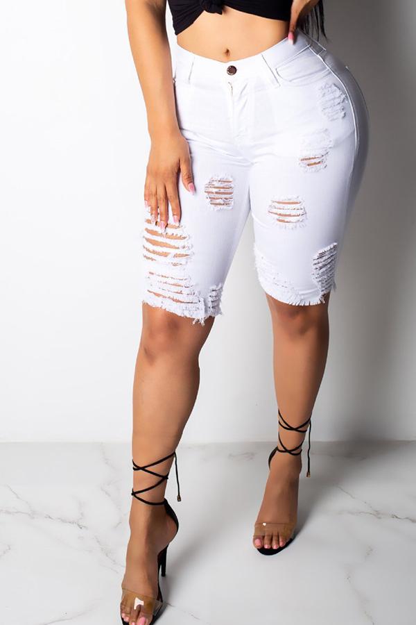 Lovely Casual Broken Holes White Shorts
