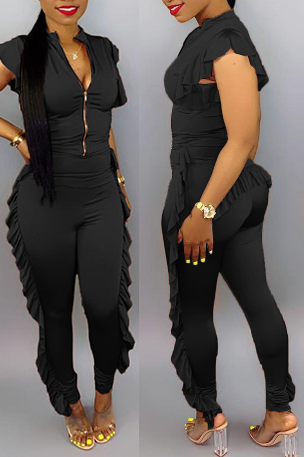 Lovely Casual Zipper Design Black One-piece Jumpsuit
