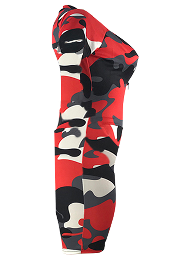 Lovely Casual Camouflage Printed Red One-piece Romper(With Elastic)