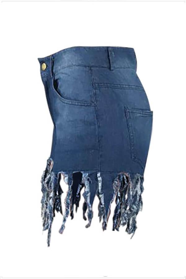 Lovely Lovelywholesale Casual Tassel Design Blue Jeans