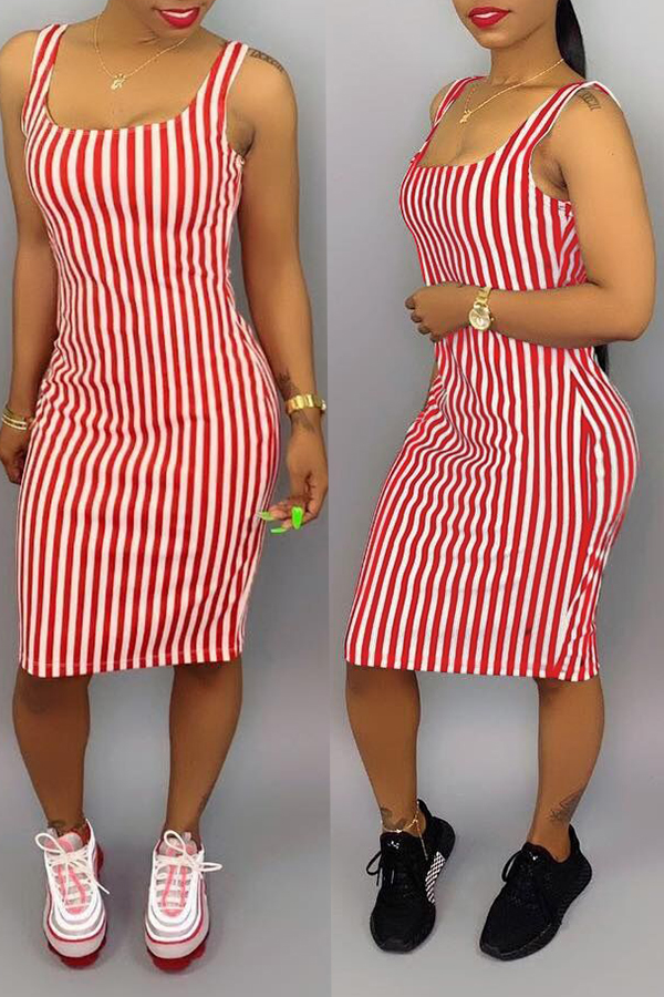 Lovely Casual Striped Pink Knee Length Dress(With Elastic)