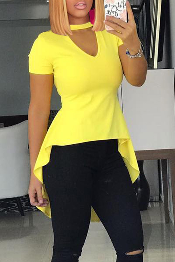 Lovely Casual  Asymmetrical Yellow T-shirt
