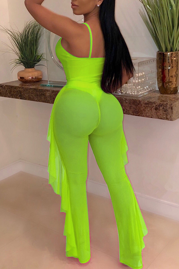 Lovely Sexy Hollow-out Green Two-piece Pants Set