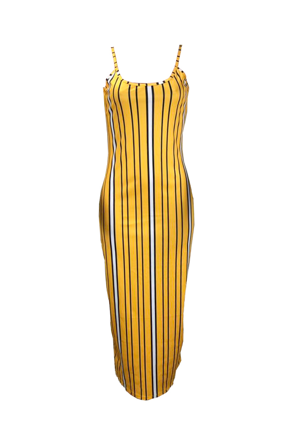 Lovely Casual Sleeveless Striped Yellow Ankle Length Dress