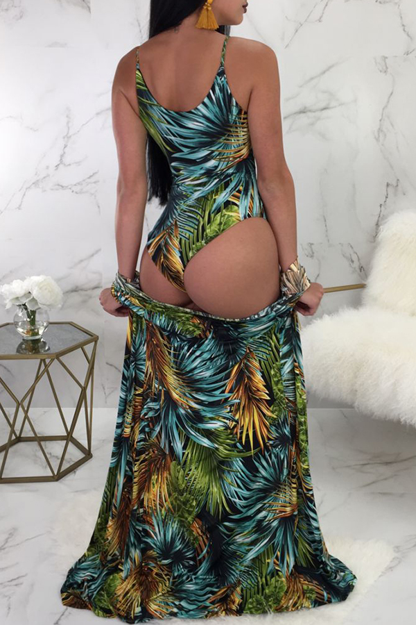 Lovely Printed Lace-up Hollow-out Green Two-piece Swimwear