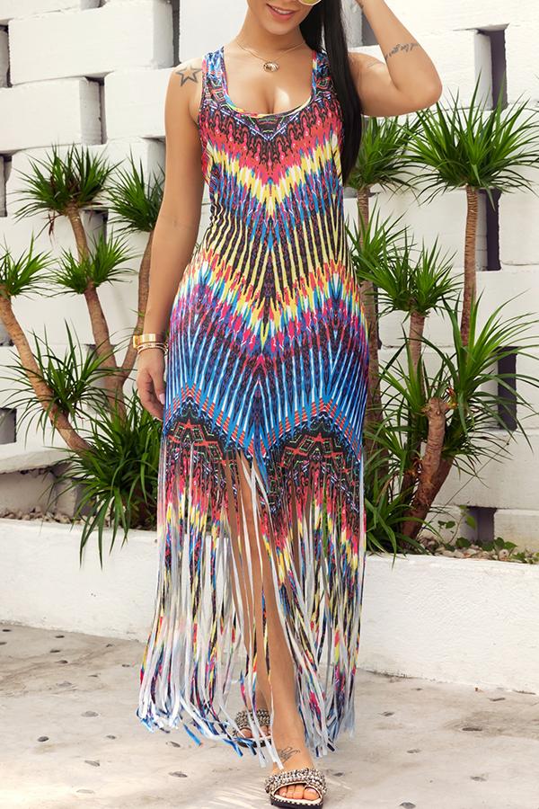 Lovely Casual Printed Tassel Design Ankle Length Dress