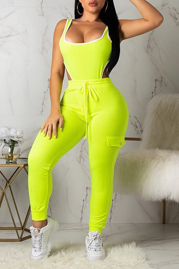 Lovely Leisure Hollow-out Green Two-piece Pants Set