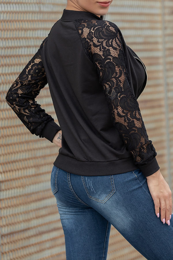 Lovely Casual Lace Patchwork Black Jacket