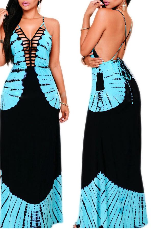 Lovely Chic Backless Blue Floor Length Dress