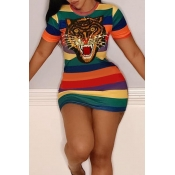 Lovely Leisure Striped Sequin Decoration Mini Dress(With Elastic)