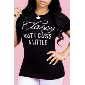 3289134396b Lovely Casual Letter Printed Black T-shirt