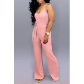 Lovely Casual Lace-up Pink One-piece Jumpsuit(With