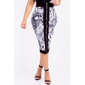 Lovely Casual Printed Zipper Design A Line Skirts