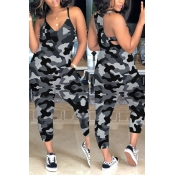 Lovely Casual Camouflage Printed Grey One-piece Jumpsuit(With Elastic)