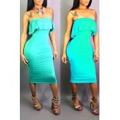 Lovely Sweet Style Flounce Design Cyan Knee Length