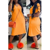 Lovely Casual Loose Straight Orange Knee Length Dr