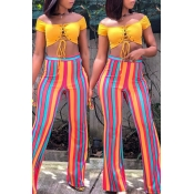 Lovely Stylish High Waist Striped Pants(With Elast