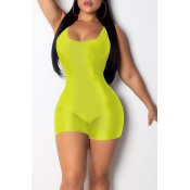 Lovely Casual Yellow One-piece Skinny Romper(With Elastic)