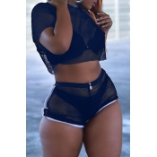 Lovely Sexy See-Through Blue Gauze Two-piece Shorts Set (Without Underwear)