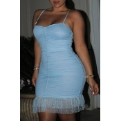 Lovely Sexy Lace Trim Patchwork Light Blue Mini Dr