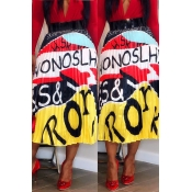 Lovely Bohemian Letter Printed Yellow Ankle Length