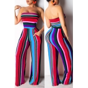 Lovely Casual Backless Striped One-piece Jumpsuit(