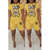 Lovely Casual Printed Yellow Two-piece Shorts Set