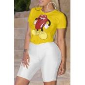 Adorable Camiseta Casual Impresa Camiseta Amarilla
