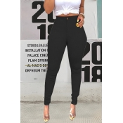 Lovely Casual High Waist Black Pants(With Elastic)