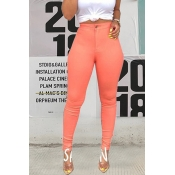 Lovely Casual High Waist Light Pink Pants(With Ela
