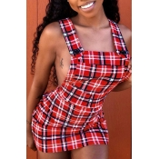 Lovely Sexy U Neck Backless Plaid Red Mini A Line Dress(With Elastic)
