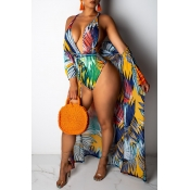 Lovely V Neck Print Yellow One-piece Swimwear(With