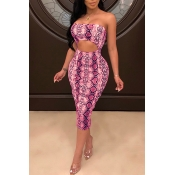 Lovely Sexy Backless Leopard Printed Pink Knee Len