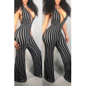 Lovely Women's Deep V Neck Striped Backless Black