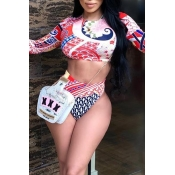 Lovely Printed High Waist Red Two-piece Swimwear