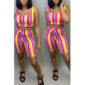 Lovely Leisure Striped Yellow Two-piece Shorts Set