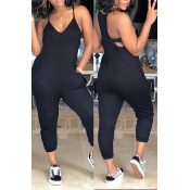 Lovely Euramerican Dew Shoulder Black One-piece Jumpsuit