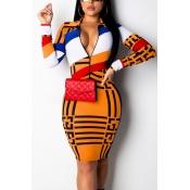 Lovely Stylish Printed Zipper Design Orange Dress(